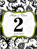 Apple Green Trim Damask Swirls Table Number Cards postcard