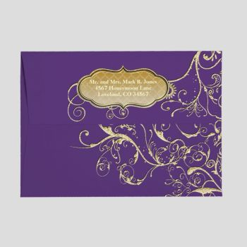 Purple Heart Leaf Tree Gold Swirls Envelope