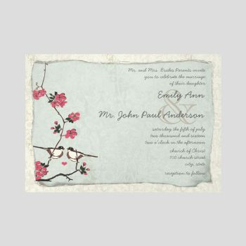 Vintage Cherry Blossom Chickadee Wedding