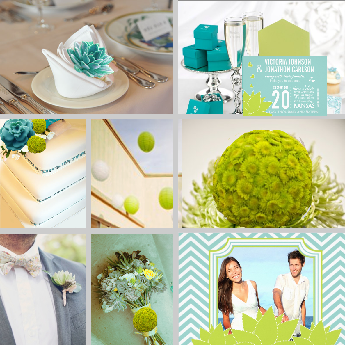 Modern Typography Succulent Wedding Invitations Turquoise Yellow Lime