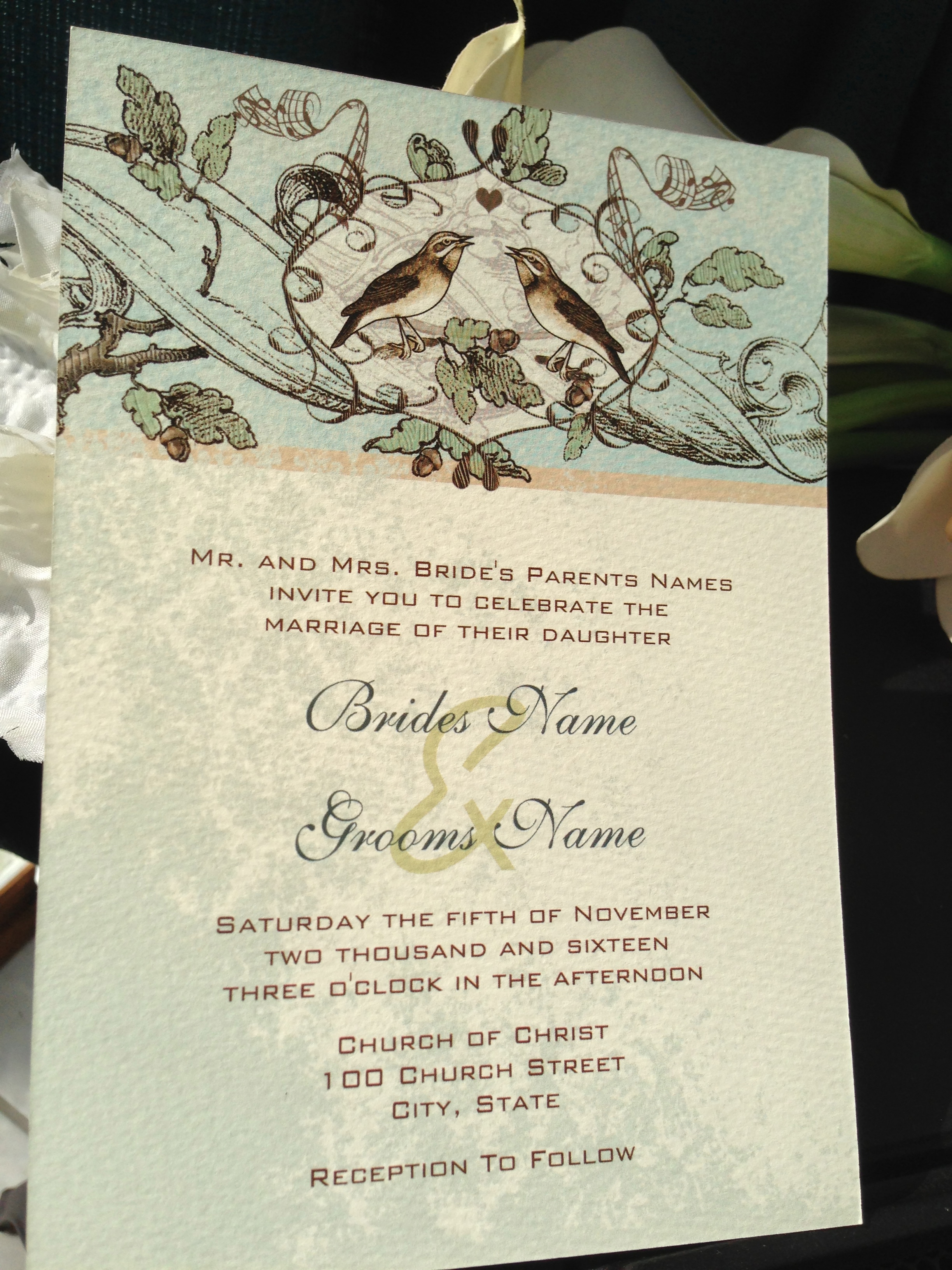 Vintage Bird Wedding Invitations | Sandra Mack Studio