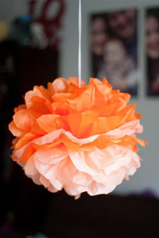 Orange Carnation Pom Poms