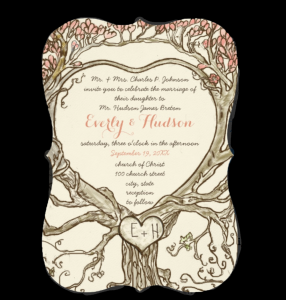 Romantic Forest Heart Shaped Tree Wedding Invitations | Sandra Mack ...